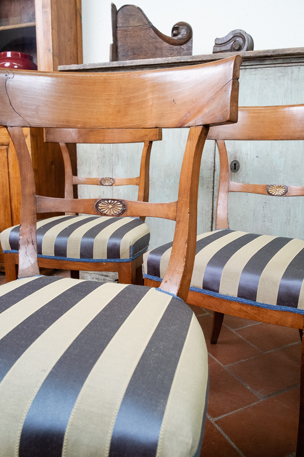 Sei sedie in ciliegio seduta imbottita - Margheri Antichità